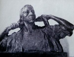 """Дмитрий Рябичев """"Портрет знатной доярки К.М.Лощеновой бронза 72х95х45 1955г."""