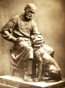 """Дмитрий Рябичев """"Физиолог И.П. Павлов с собакой""""  1956 год"""