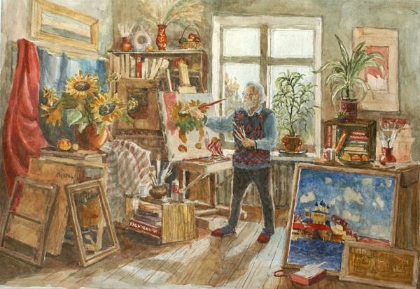 Рисунок Даниэлы Рябичевой «Художник Ким Бритов в своей мастерской», 2007 г.
