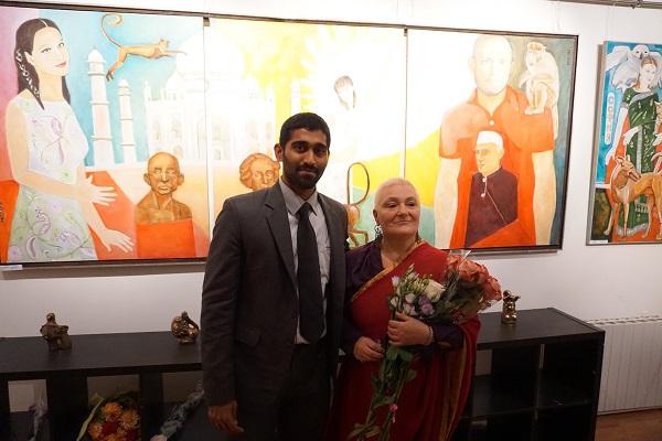 Господин Джейсундар и Маргарита Юркова на открытии выставки «Индия, любовь моя!»
